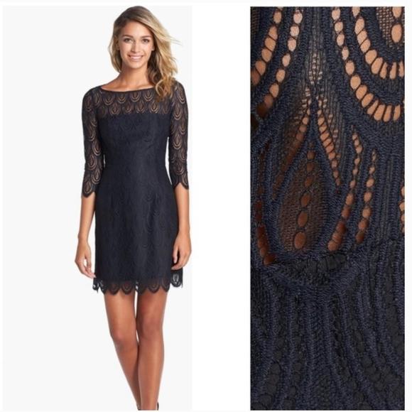 Lilly Pulitzer navy blue Hera lace sheath dress 00